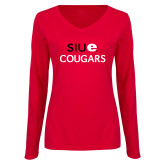 Ladies Red Long Sleeve V Neck T Shirt-SIUE Cougars Stacked