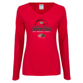 Ladies Red Long Sleeve V Neck T Shirt-2017 Womens Tennis Back 2 Back Champions