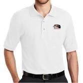 White Easycare Pique Polo-SIUE Cougars Official Logo