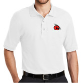 White Easycare Pique Polo-e Slash Mark