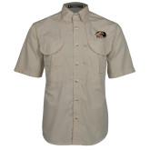 Khaki Short Sleeve Performance Fishing Shirt-SIUE Cougars Official Logo