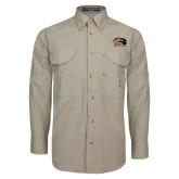 Khaki Long Sleeve Performance Fishing Shirt-SIUE Cougars Official Logo