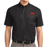 Black Twill Button Down Short Sleeve-SIUE