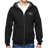 Black Fleece Full Zip Hoodie-SIUE Cougars Official Logo
