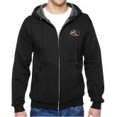 Black Fleece Full Zip Hoodie-SIUE Cougars Official Logo