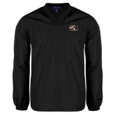 V Neck Black Raglan Windshirt-SIUE Cougars Official Logo