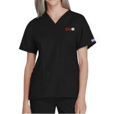 Ladies Black Two Pocket V Neck Scrub Top-SIUE