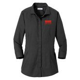 Ladies Red House Black 3/4 Sleeve Shirt-SIUE