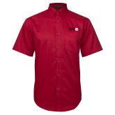 Red Twill Button Down Short Sleeve-SIUE