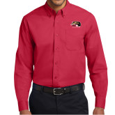 Red Twill Button Down Long Sleeve-SIUE Cougars Official Logo