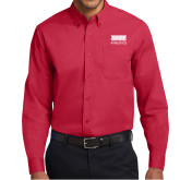 Red Twill Button Down Long Sleeve-SIUE