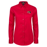 Ladies Red Twill Button Down Long Sleeve-SIUE Cougars Official Logo