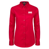 Ladies Red Twill Button Down Long Sleeve-SIUE