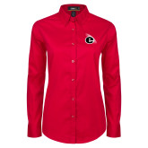 Ladies Red Twill Button Down Long Sleeve-e Slash Mark