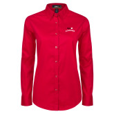 Ladies Red Twill Button Down Long Sleeve-SIUE Arched Cougars