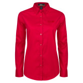 Ladies Red Twill Button Down Long Sleeve-SIUE Tone