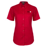 Ladies Red Twill Button Up Short Sleeve-SIUE