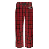 Red/Black Flannel Pajama Pant-SIUE Cougars Official Logo