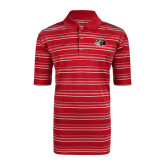 Adidas Climalite Red Textured Stripe Polo-SIUE Cougars Official Logo