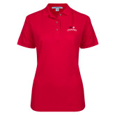 Ladies Easycare Red Pique Polo-SIUE Arched Cougars