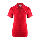 Ladies Red Horizontal Textured Polo-SIUE