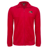 Fleece Full Zip Red Jacket-SIUE Cougars Official Logo