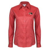 Ladies Red House Red Long Sleeve Shirt-SIUE Cougars Official Logo