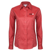 Ladies Red House Red Long Sleeve Shirt-SIUE
