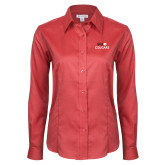 Ladies Red House Red Long Sleeve Shirt-SIUE Cougars Stacked