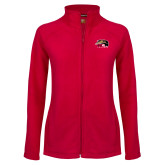 Ladies Fleece Full Zip Red Jacket-SIUE Cougars Official Logo