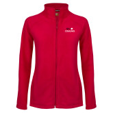 Ladies Fleece Full Zip Red Jacket-SIUE Cougars Stacked