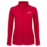 Ladies Fleece Full Zip Red Jacket-SIUE Arched Cougars
