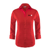 Ladies Red House Red 3/4 Sleeve Shirt-SIUE