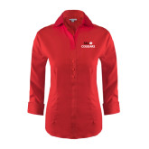 Ladies Red House Red 3/4 Sleeve Shirt-SIUE Cougars Stacked