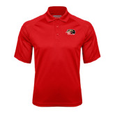 Red Textured Saddle Shoulder Polo-SIUE Cougars Official Logo