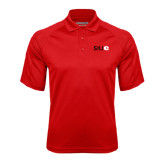 Red Textured Saddle Shoulder Polo-SIUE