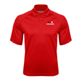 Red Textured Saddle Shoulder Polo-SIUE Cougars Stacked