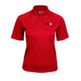 Ladies Red Textured Saddle Shoulder Polo-SIUE