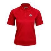 Ladies Red Textured Saddle Shoulder Polo-e Slash Mark