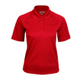 Ladies Red Textured Saddle Shoulder Polo-SIUE Tone