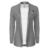 Ladies Heather Grey Open Front Cardigan-SIUE Cougars Official Logo