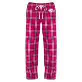 Ladies Dark Fuchsia/White Flannel Pajama Pant-SIUE Cougars Official Logo