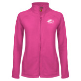 Ladies Fleece Full Zip Raspberry Jacket-SIUE Tone
