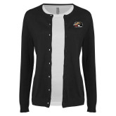 Ladies Black Cardigan-SIUE Cougars Official Logo