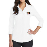 Ladies Red House White 3/4 Sleeve Shirt-SIUE Cougars Official Logo
