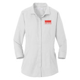 Ladies Red House White 3/4 Sleeve Shirt-SIUE
