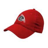 Red Twill Unstructured Low Profile Hat-e Slash Mark