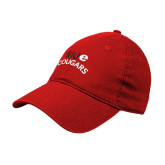 Red Twill Unstructured Low Profile Hat-SIUE Arched Cougars