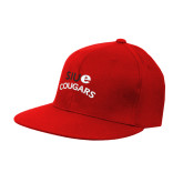 Red OttoFlex Flat Bill Pro Style Hat-SIUE Arched Cougars