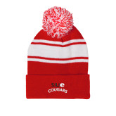 Red/White Two Tone Knit Pom Beanie w/Cuff-SIUE Arched Cougars